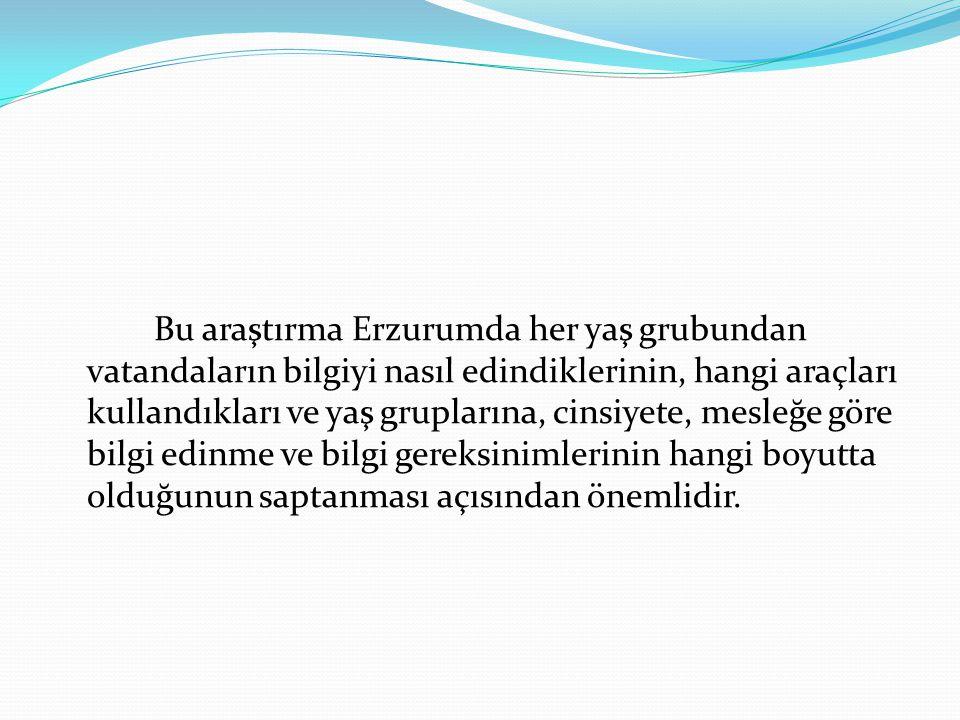 Bu araştırma Erzurumda her yaş grubundan vatandaların bilgiyi nasıl edindiklerinin, hangi araçları kullandıkları ve yaş gruplarına, cinsiyete, mesleğe