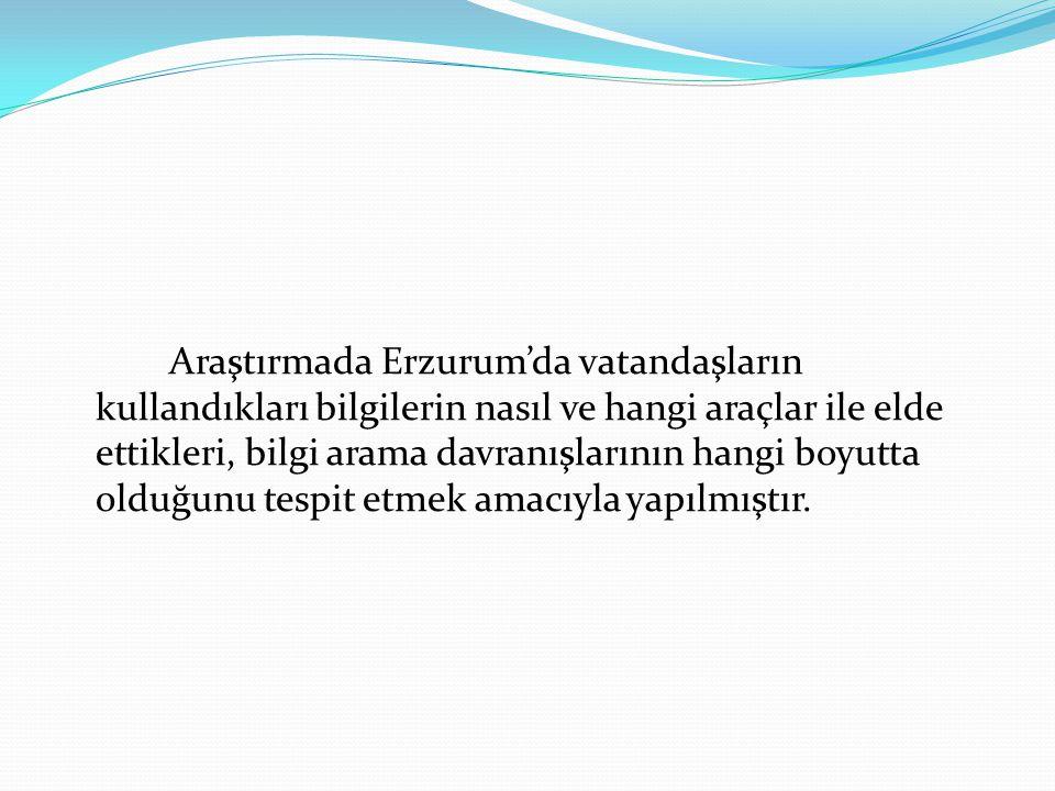 Araştırmada Erzurum'da vatandaşların kullandıkları bilgilerin nasıl ve hangi araçlar ile elde ettikleri, bilgi arama davranışlarının hangi boyutta old