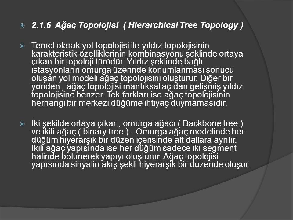  2.1.6 Ağaç Topolojisi ( Hierarchical Tree Topology )  Temel olarak yol topolojisi ile yıldız topolojisinin karakteristik özelliklerinin kombinasyonu şeklinde ortaya çıkan bir topoloji türüdür.
