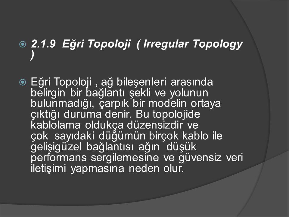 2.1.9 Eğri Topoloji ( Irregular Topology )  Eğri Topoloji, ağ bileşenleri arasında belirgin bir bağlantı şekli ve yolunun bulunmadığı, çarpık bir modelin ortaya çıktığı duruma denir.