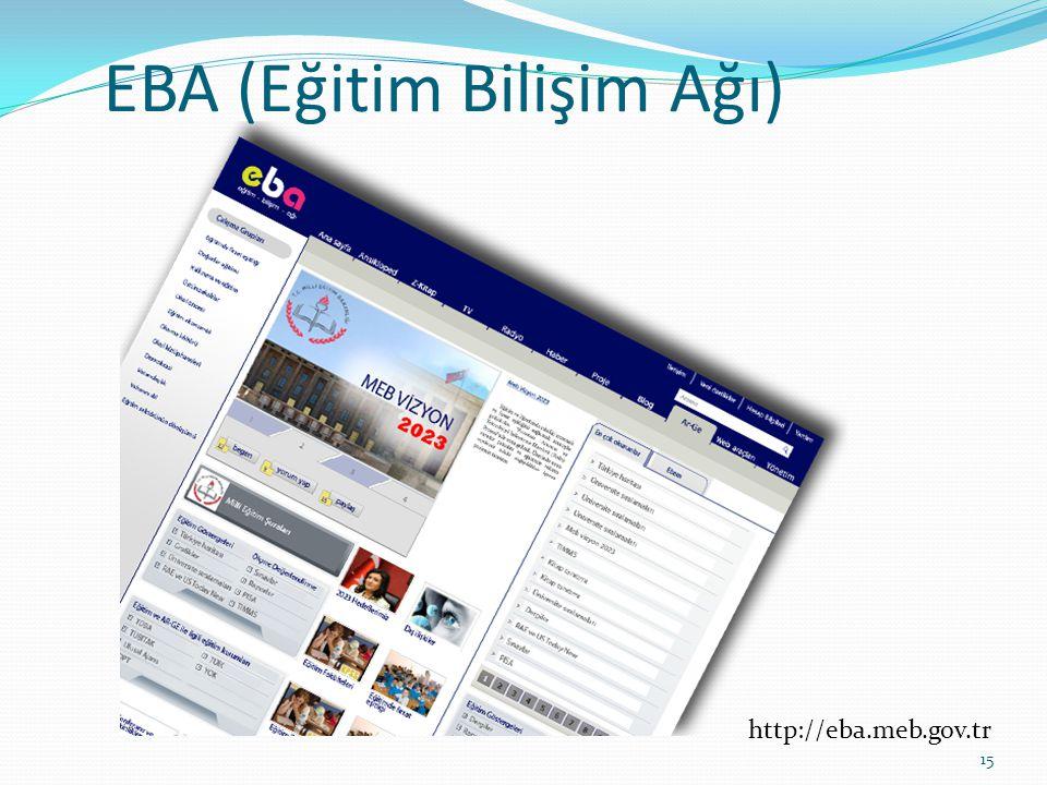 EBA (Eğitim Bilişim Ağı) 15 http://eba.meb.gov.tr