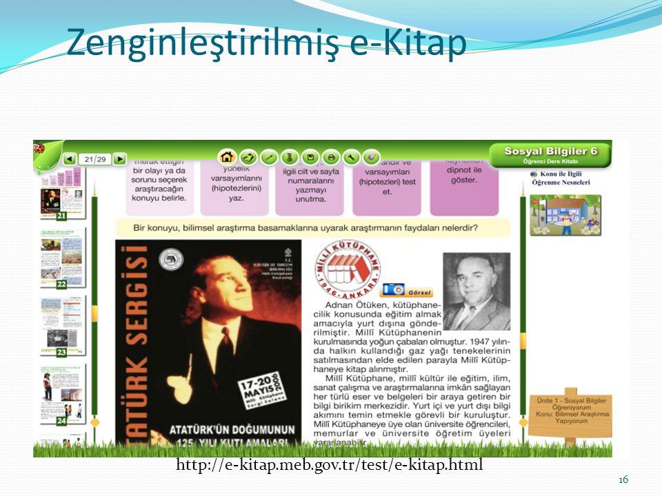 Zenginleştirilmiş e-Kitap 16 http://e-kitap.meb.gov.tr/test/e-kitap.html