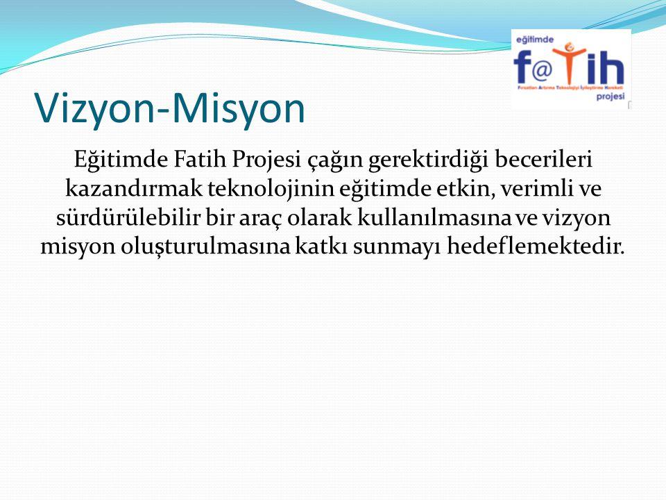 Vizyon-Misyon Eğitimde Fatih Projesi çağın gerektirdiği becerileri kazandırmak teknolojinin eğitimde etkin, verimli ve sürdürülebilir bir araç olarak kullanılmasına ve vizyon misyon oluşturulmasına katkı sunmayı hedeflemektedir.