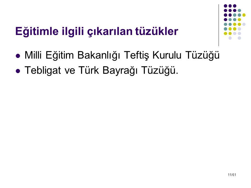 11/61 Eğitimle ilgili çıkarılan tüzükler Milli Eğitim Bakanlığı Teftiş Kurulu Tüzüğü Tebligat ve Türk Bayrağı Tüzüğü.