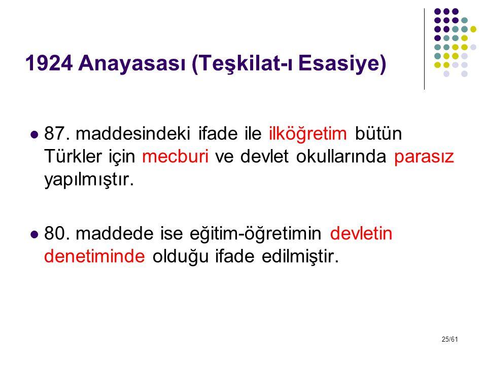 25/61 1924 Anayasası (Teşkilat-ı Esasiye) 87. maddesindeki ifade ile ilköğretim bütün Türkler için mecburi ve devlet okullarında parasız yapılmıştır.