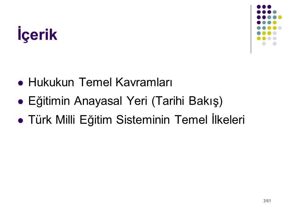 3/61 İçerik Hukukun Temel Kavramları Eğitimin Anayasal Yeri (Tarihi Bakış) Türk Milli Eğitim Sisteminin Temel İlkeleri