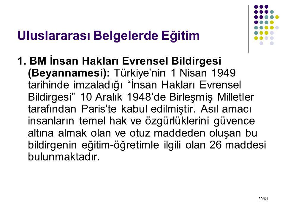 """30/61 Uluslararası Belgelerde Eğitim 1. BM İnsan Hakları Evrensel Bildirgesi (Beyannamesi): Türkiye'nin 1 Nisan 1949 tarihinde imzaladığı """"İnsan Hakla"""