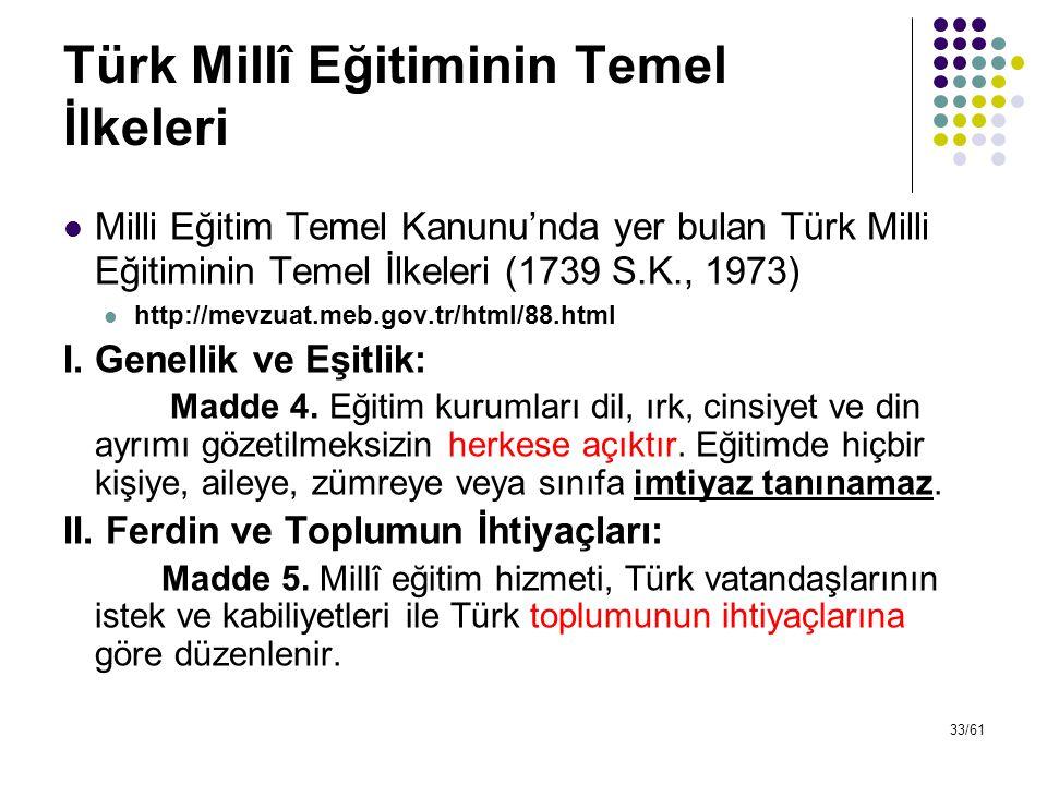 33/61 Türk Millî Eğitiminin Temel İlkeleri Milli Eğitim Temel Kanunu'nda yer bulan Türk Milli Eğitiminin Temel İlkeleri (1739 S.K., 1973) http://mevzu