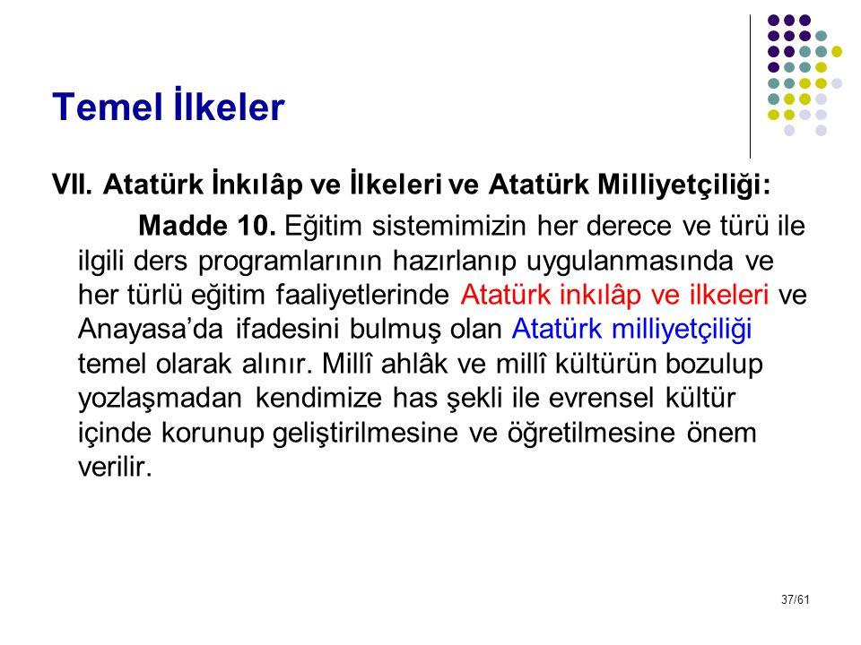 37/61 Temel İlkeler VII. Atatürk İnkılâp ve İlkeleri ve Atatürk Milliyetçiliği: Madde 10. Eğitim sistemimizin her derece ve türü ile ilgili ders progr