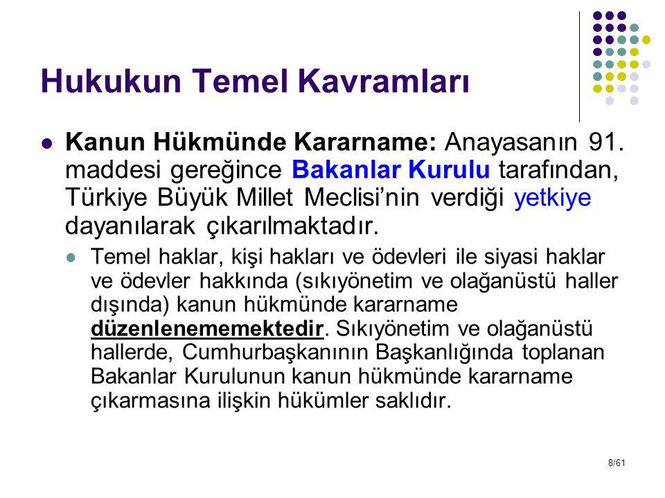 8/61 Hukukun Temel Kavramları Kanun Hükmünde Kararname: Anayasanın 91. maddesi gereğince Bakanlar Kurulu tarafından, Türkiye Büyük Millet Meclisi'nin