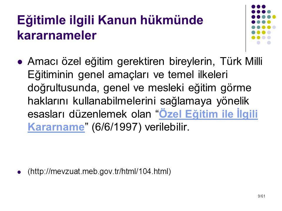Eğitimle ilgili Kanun hükmünde kararnameler Amacı özel eğitim gerektiren bireylerin, Türk Milli Eğitiminin genel amaçları ve temel ilkeleri doğrultusu