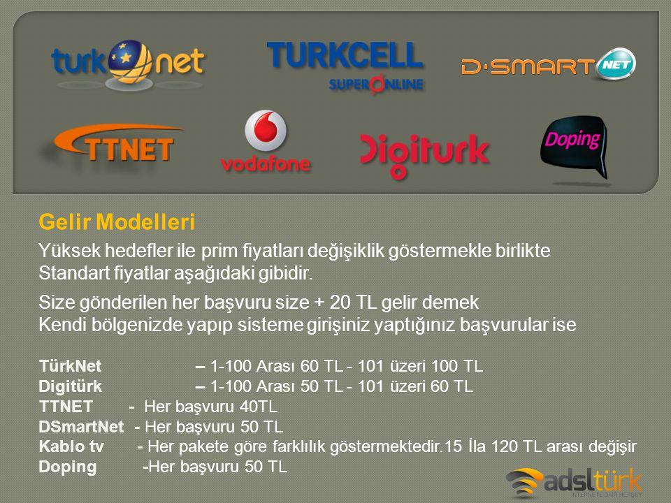 Size gönderilen her başvuru size + 20 TL gelir demek Kendi bölgenizde yapıp sisteme girişiniz yaptığınız başvurular ise TürkNet – 1-100 Arası 60 TL -
