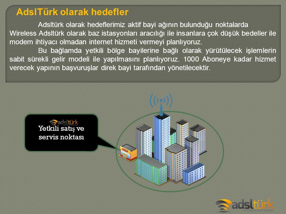 Adsltürk olarak hedeflerimiz aktif bayi ağının bulunduğu noktalarda Wireless Adsltürk olarak baz istasyonları aracılığı ile insanlara çok düşük bedell