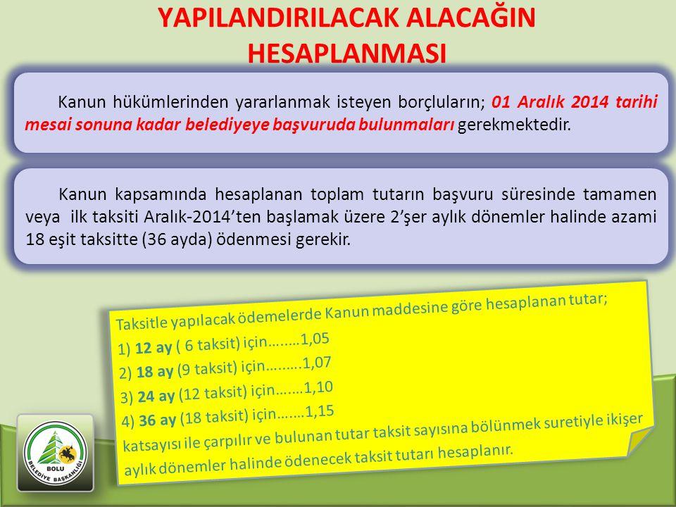 YAPILANDIRILACAK ALACAĞIN HESAPLANMASI Kanun hükümlerinden yararlanmak isteyen borçluların; 01 Aralık 2014 tarihi mesai sonuna kadar belediyeye başvur