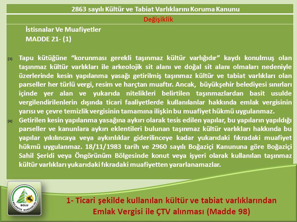 """2863 sayılı Kültür ve Tabiat Varlıklarını Koruma Kanunu Değişiklik İstisnalar Ve Muafiyetler MADDE 21- (1) (3)Tapu kütüğüne """"korunması gerekli taşınma"""