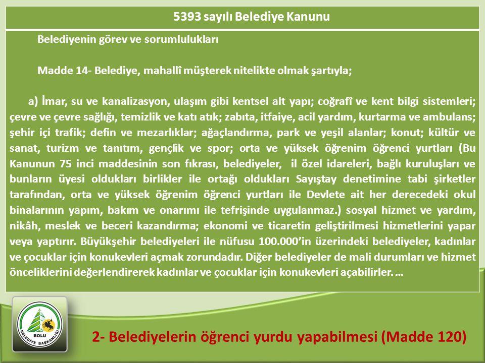 2- Belediyelerin öğrenci yurdu yapabilmesi (Madde 120) 5393 sayılı Belediye Kanunu Belediyenin görev ve sorumlulukları Madde 14- Belediye, mahallî müş