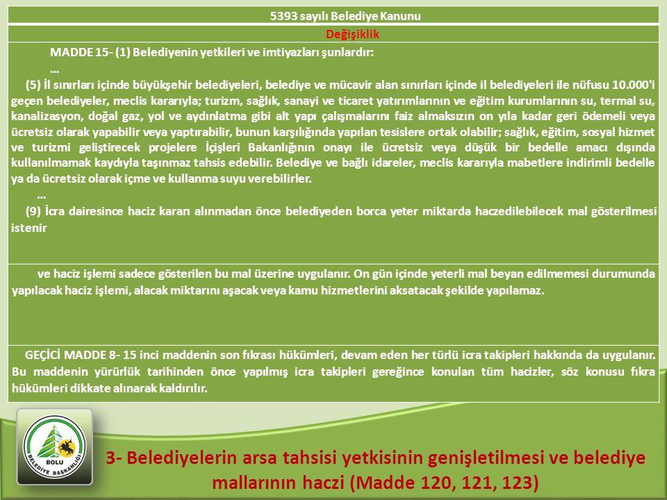 3- Belediyelerin arsa tahsisi yetkisinin genişletilmesi ve belediye mallarının haczi (Madde 120, 121, 123) 5393 sayılı Belediye Kanunu Değişiklik MADD