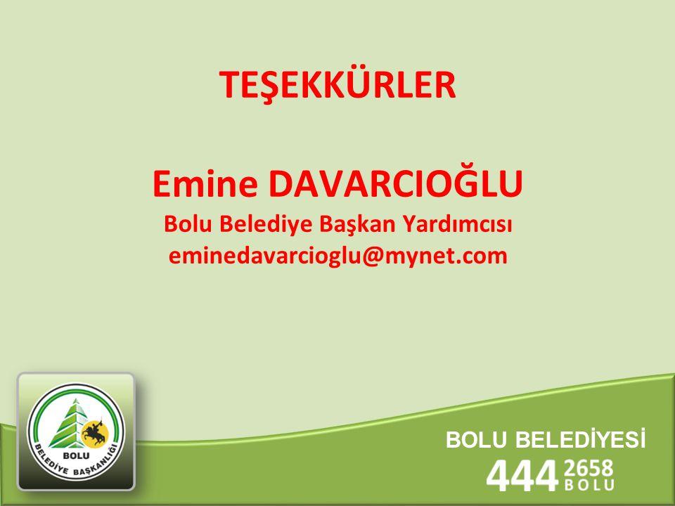 TEŞEKKÜRLER Emine DAVARCIOĞLU Bolu Belediye Başkan Yardımcısı eminedavarcioglu@mynet.com BOLU BELEDİYESİ
