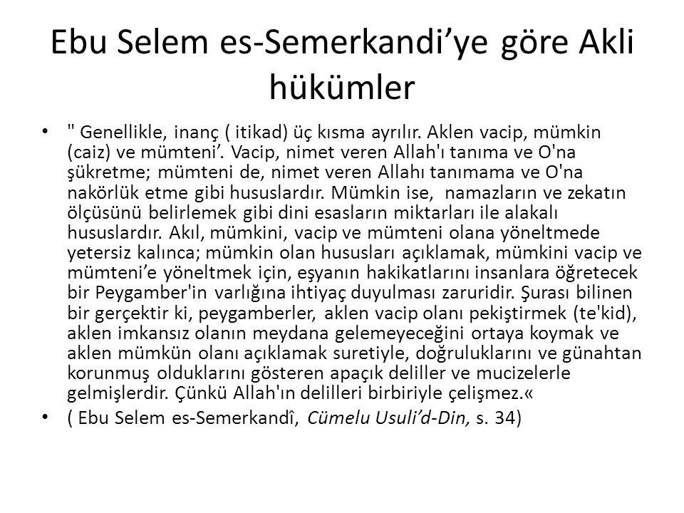 Ebu Selem es-Semerkandi'ye göre Akli hükümler