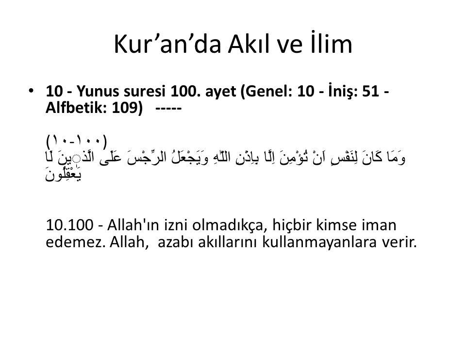 Kur'an'da Akıl ve İlim 10 - Yunus suresi 100. ayet (Genel: 10 - İniş: 51 - Alfbetik: 109) ----- ( ١٠ - ١٠٠ ) وَمَا كَانَ لِنَفْسٍ اَنْ تُؤْمِنَ اِلَّا