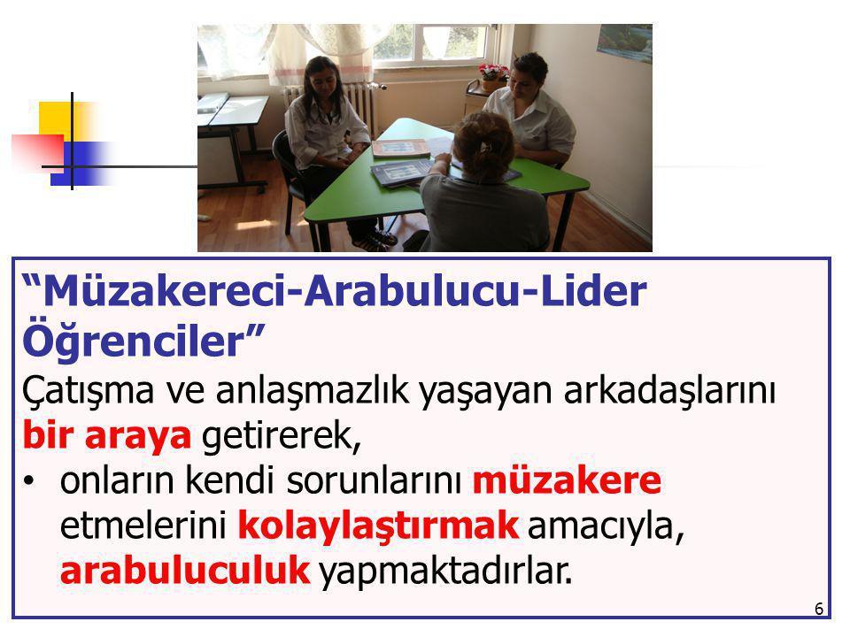 """6 """"Müzakereci-Arabulucu-Lider Öğrenciler"""" Çatışma ve anlaşmazlık yaşayan arkadaşlarını bir araya getirerek, onların kendi sorunlarını müzakere etmeler"""