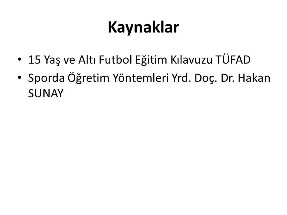 Kaynaklar 15 Yaş ve Altı Futbol Eğitim Kılavuzu TÜFAD Sporda Öğretim Yöntemleri Yrd. Doç. Dr. Hakan SUNAY