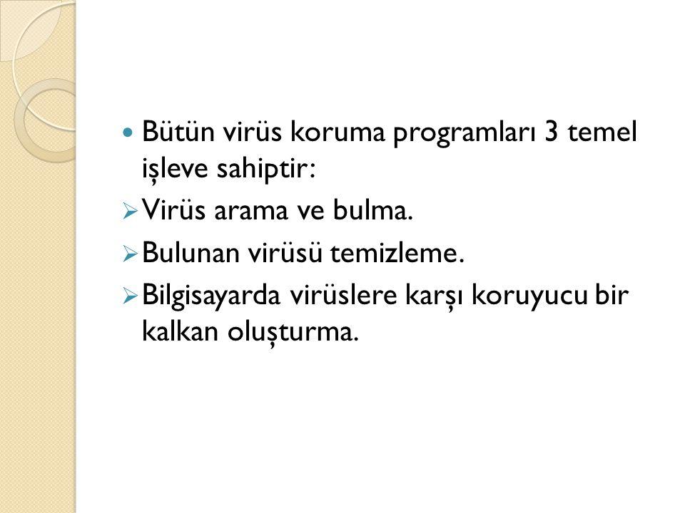 Bütün virüs koruma programları 3 temel işleve sahiptir:  Virüs arama ve bulma.