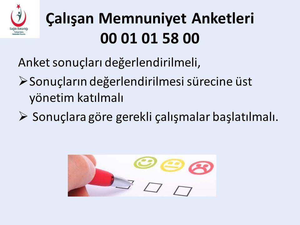 Çalışan Memnuniyet Anketleri 00 01 01 58 00 Anket sonuçları değerlendirilmeli,  Sonuçların değerlendirilmesi sürecine üst yönetim katılmalı  Sonuçlara göre gerekli çalışmalar başlatılmalı.