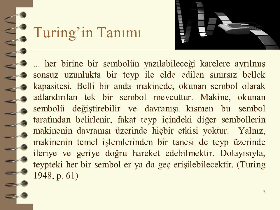 Turing'in Tanımı 3... her birine bir sembolün yazılabileceği karelere ayrılmış sonsuz uzunlukta bir teyp ile elde edilen sınırsız bellek kapasitesi. B