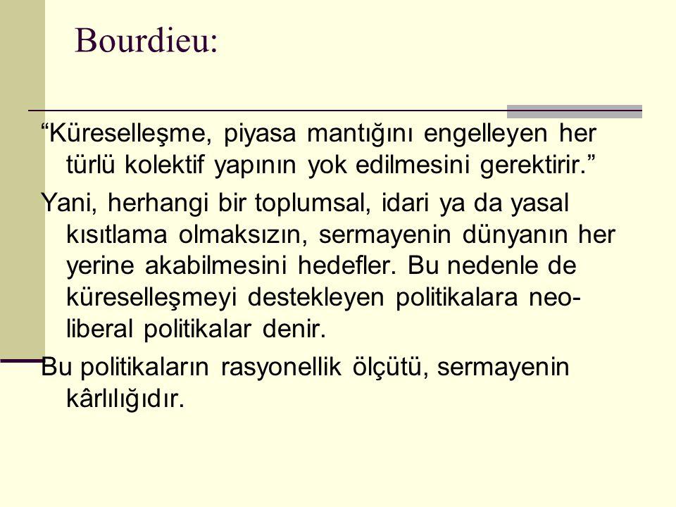 """Bourdieu: """"Küreselleşme, piyasa mantığını engelleyen her türlü kolektif yapının yok edilmesini gerektirir."""" Yani, herhangi bir toplumsal, idari ya da"""