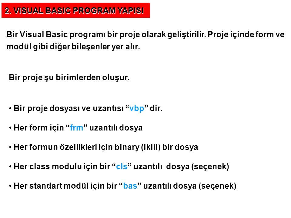 Proje ve Formlar Yeni bir Visual Basic programına bir proje olarak başlanır.