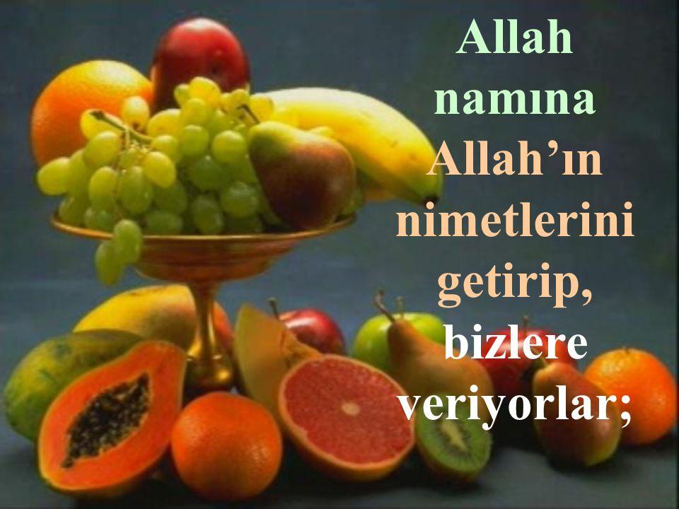 Allah namına Allah'ın nimetlerini getirip, bizlere veriyorlar;