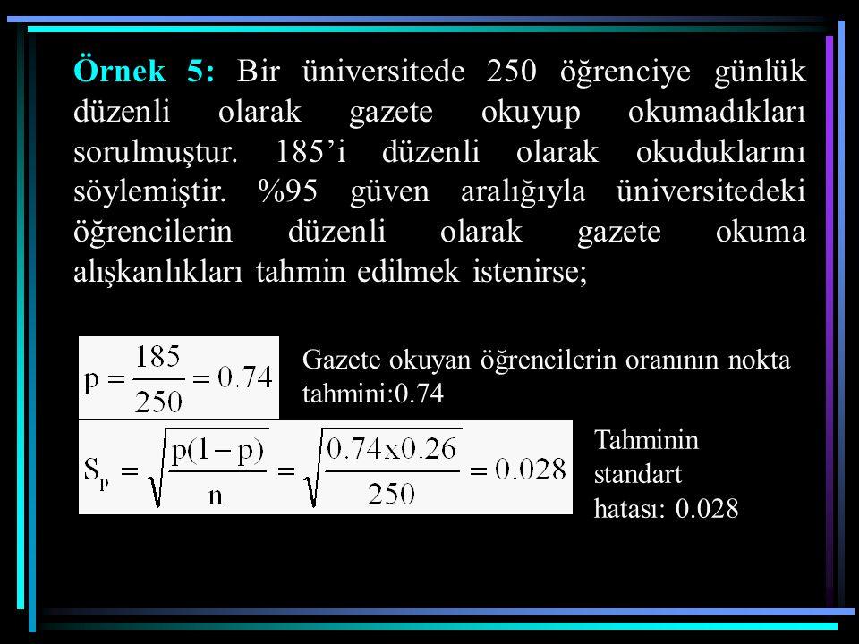 Örnek 5: Bir üniversitede 250 öğrenciye günlük düzenli olarak gazete okuyup okumadıkları sorulmuştur. 185'i düzenli olarak okuduklarını söylemiştir. %