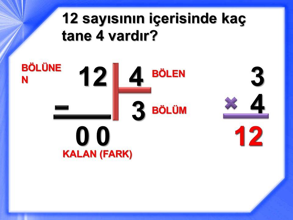 12 sayısının içerisinde kaç tane 4 vardır? 12 BÖLÜNE N 4 BÖLEN 3 3 4 1212 BÖLÜM 00 KALAN (FARK)