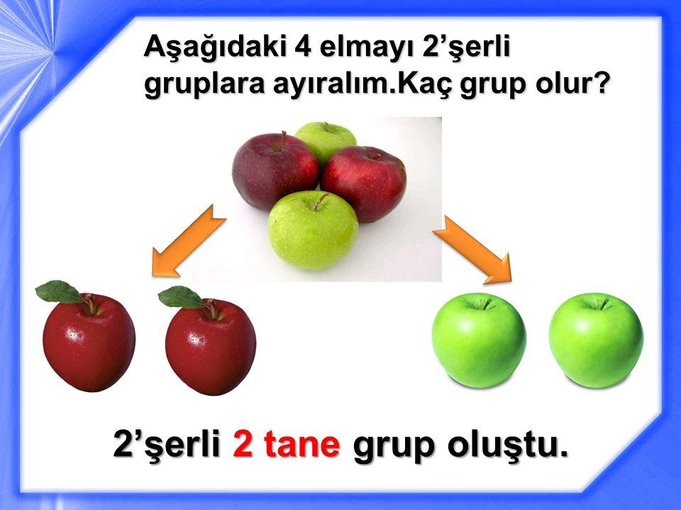Aşağıdaki 4 elmayı 2'şerli gruplara ayıralım.Kaç grup olur? 2'şerli 2 tane grup oluştu.