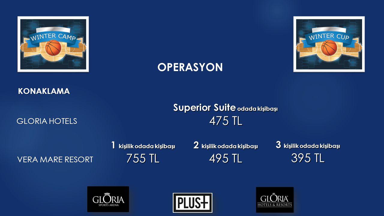 OPERASYON KONAKLAMA Superior Suite odada kişibaşı 475 TL GLORIA HOTELS 2 kişilik odada kişibaşı 495 TL 3 kişilik odada kişibaşı 395 TL VERA MARE RESORT 1 kişilik odada kişibaşı 755 TL