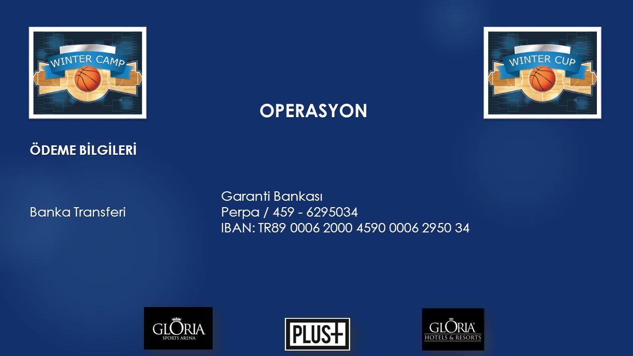 OPERASYON ÖDEME BİLGİLERİ Banka Transferi Garanti Bankası Perpa / 459 - 6295034 IBAN: TR89 0006 2000 4590 0006 2950 34