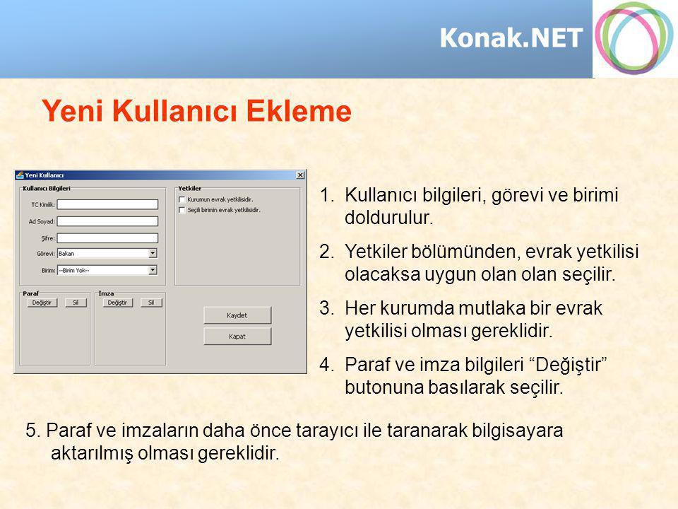 Konak.NET 1.Kullanıcı bilgileri, görevi ve birimi doldurulur. 2.Yetkiler bölümünden, evrak yetkilisi olacaksa uygun olan olan seçilir. 3.Her kurumda m