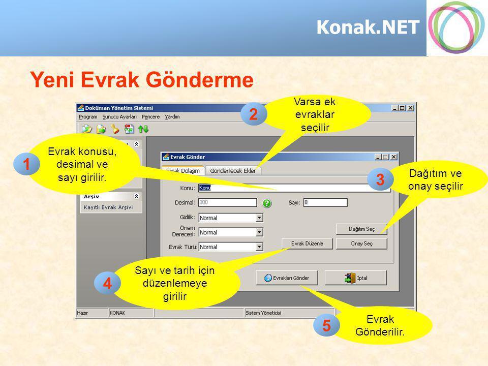 Konak.NET Yeni Evrak Gönderme Evrak konusu, desimal ve sayı girilir. Dağıtım ve onay seçilir Sayı ve tarih için düzenlemeye girilir Evrak Gönderilir.
