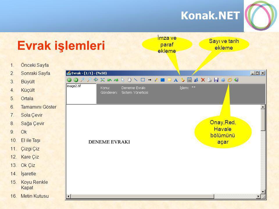 Konak.NET İmza ve paraf ekleme Evrak işlemleri Sayı ve tarih ekleme 1.Önceki Sayfa 2.Sonraki Sayfa 3.Büyült 4.Küçült 5.Ortala 6.Tamamını Göster 7.Sola