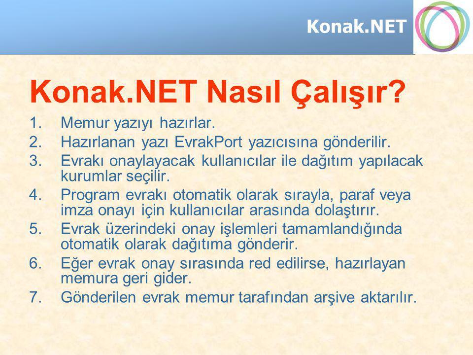 Konak.NET Konak.NET Nasıl Çalışır? 1.Memur yazıyı hazırlar. 2.Hazırlanan yazı EvrakPort yazıcısına gönderilir. 3.Evrakı onaylayacak kullanıcılar ile d