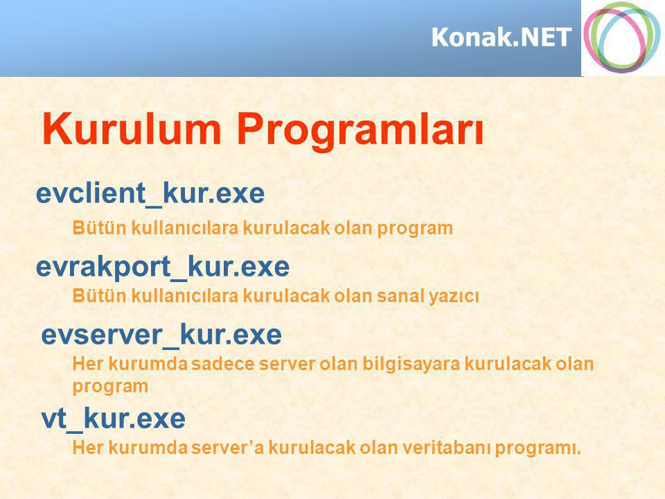 Konak.NET Kurulum Programları evrakport_kur.exe evserver_kur.exe evclient_kur.exe vt_kur.exe Her kurumda server'a kurulacak olan veritabanı programı.