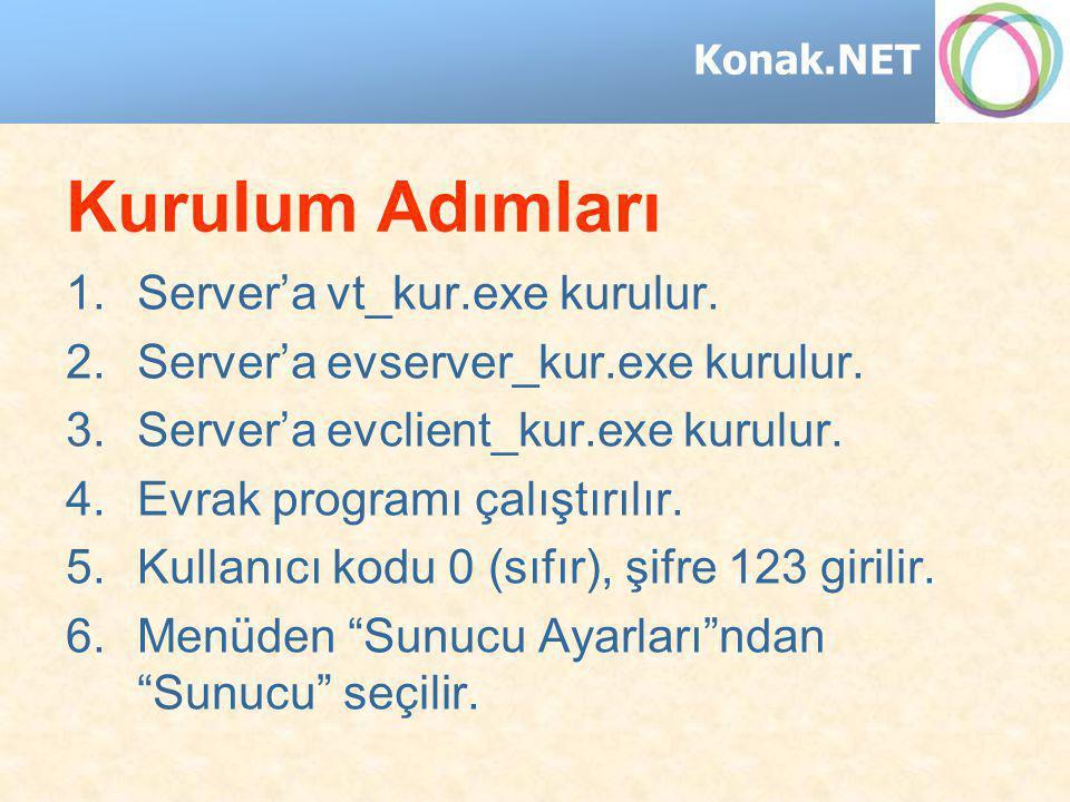 Konak.NET Kurulum Adımları 1.Server'a vt_kur.exe kurulur. 2.Server'a evserver_kur.exe kurulur. 3.Server'a evclient_kur.exe kurulur. 4.Evrak programı ç