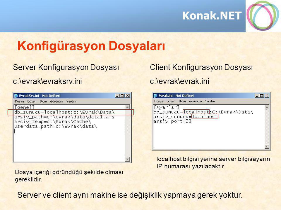 Konak.NET Konfigürasyon Dosyaları Server Konfigürasyon Dosyası c:\evrak\evraksrv.ini Client Konfigürasyon Dosyası c:\evrak\evrak.ini localhost bilgisi