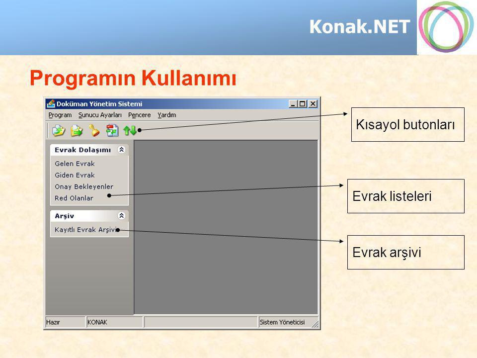 Konak.NET Programın Kullanımı Kısayol butonları Evrak listeleri Evrak arşivi