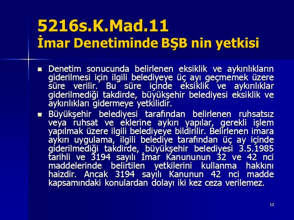 5216s.K.Mad.11 İmar Denetiminde BŞB nin yetkisi Denetim sonucunda belirlenen eksiklik ve aykırılıkların giderilmesi için ilgili belediyeye üç ayı geçmemek üzere süre verilir.