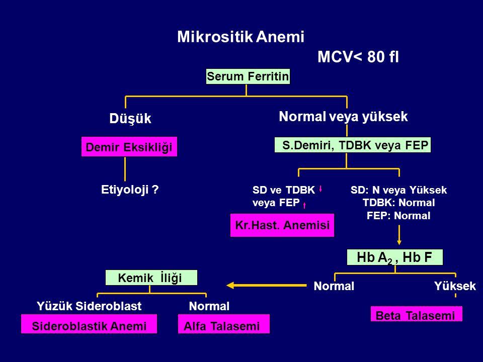 Mikrositik Anemi MCV< 80 fl Yüksek Düşük Normal veya yüksek Demir Eksikliği Etiyoloji ? Serum Ferritin S.Demiri, TDBK veya FEP SD ve TDBK veya FEP Kr.