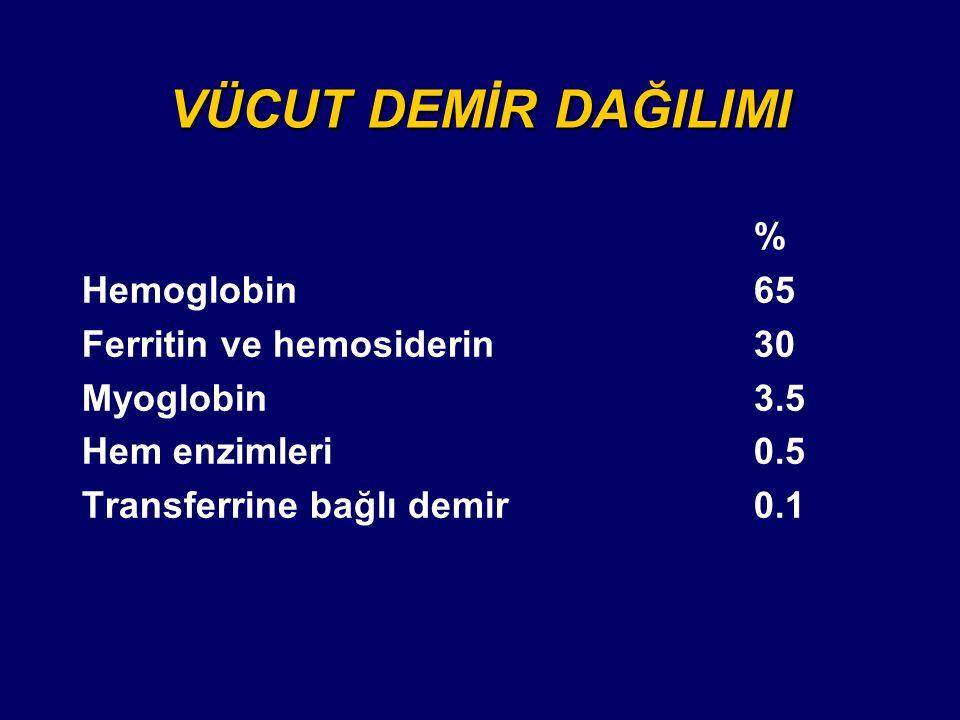 VÜCUT DEMİR DAĞILIMI % Hemoglobin65 Ferritin ve hemosiderin30 Myoglobin3.5 Hem enzimleri0.5 Transferrine bağlı demir0.1