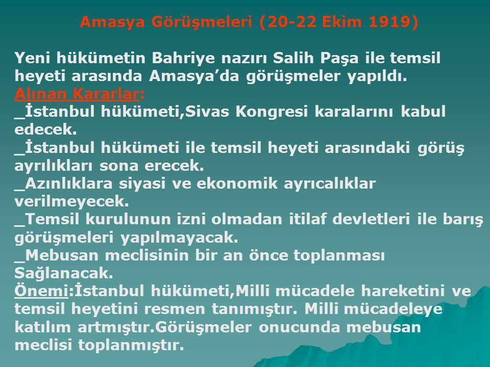 Sivas Kongresi(4-11 Eylül 1919) Amaç:Bölgesel cemiyetleri birleştirmek ve ulusal bir meclisin açılmasını sağlamaktır.