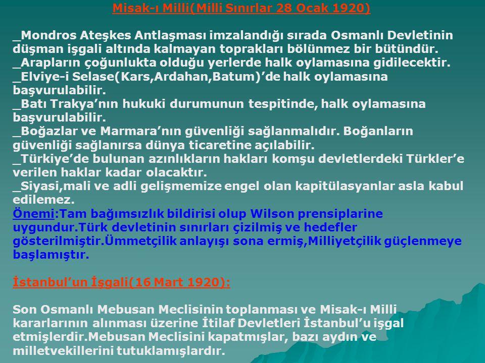 Temsil heyetinin Ankara'yı merkez yapması: 27 Aralık 1919 Nedenleri: -Ankara'nın düşman işgalinden uzak ve merkezi bir yerde bulunması.